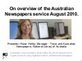 Legal Research using digitised historic Australian Newspapers August 2010, by Rose Holley