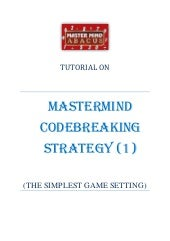 TUTORIAL ON MASTERMIND CODEBREAKING...