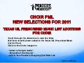 TX Choral PML: 2011 Additions to th...