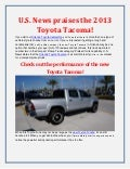 U.S. News praises the 2013 Toyota Tacoma!