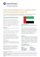 UAE: Latest developments on implementation of VAT and CIT