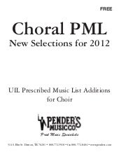 New TX PML | UIL Choral Additions f...