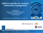 UKOLN activities on research inform...