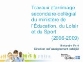 Arrimage secondaire-collégial - MELS