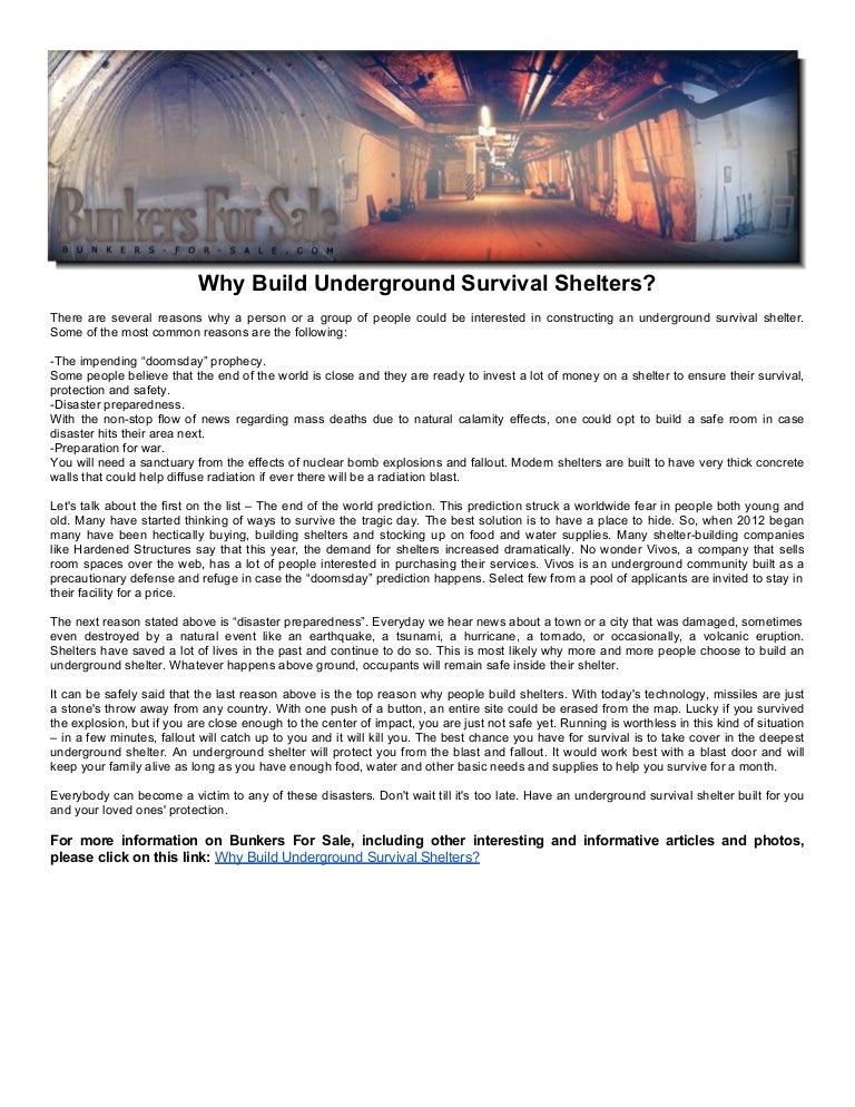 Underground Survival Shelter Underground Survival Shelters