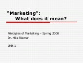 Unit 1 Defining Marketing And The M...