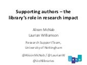 Supporting authors - the library's role in research support