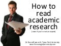How to read academic research (beginner's guide)
