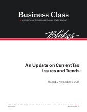 Update on Current Tax Issues and Tr...