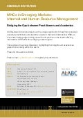 Seminar Invitation to UQ BS Event:  MNCs in Emerging Markets: International Human Resource Management