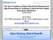 Igor Lesko: The Use & Creation of Open Educational Resources & OpenCourseWare in Teaching in South African Higher Education Institutions (Case Study)