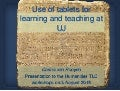 Use tablets in learning & teaching at UJ