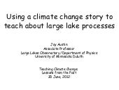 Using a climate change story to teach about large lake processes