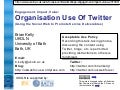 Organisational Use of Twitter
