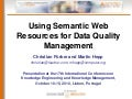 Using Semantic Web Resources for Data Quality Management