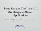 Some Dos and Don'ts in UI/UX Design of Mobile Applications