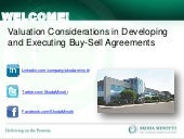 Valuation Issues in Developing and Executing Buy-Sell Agreements