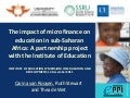 Impact of microfinance on education in sub-Saharan Africa