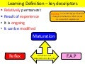VCE psychology -   behaviour not dependent on learning - see my Youtube file for video