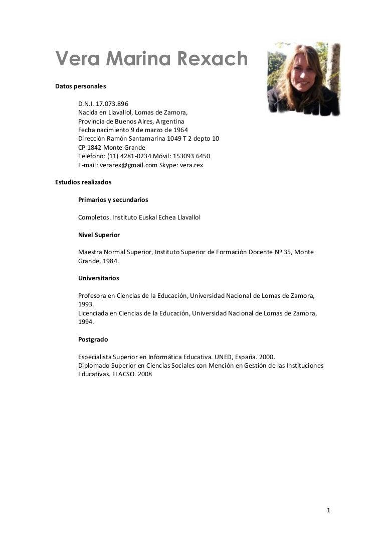 Modelo De Curriculum Vitae Docente Escuela - Modelo De Curriculum Vitae