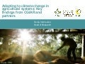 Adapting to climate change in agricultural systems: Key findings from CGIAR and partners