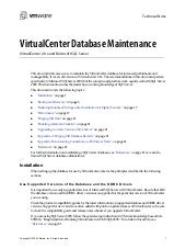 VirtualCenter Database Maintenance:...