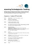 eLearning Technologies for Teaching
