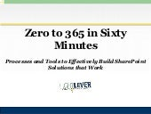 Zero to 365 in One Hour: Processes and Tools for Effective SharePoint Solutions