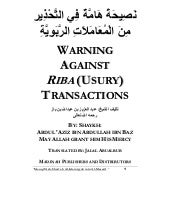 Warning Against Riba (Usury & Inter...