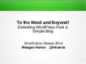 WCO2014 - To The Word And Beyond!
