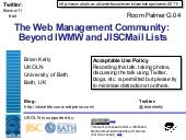 The Web Management Community: Beyon...