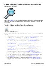 Weekly e discovery top story digest...