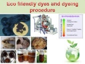 Eco friendly dyes and dyeing procedure