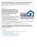 "FHA's ""Back to Work"" Program helps people become homeowners after Short Sale or Foreclosure"