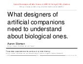 What designers of artificial compan...