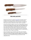 What makes a good knife