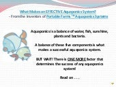 What makes an effective aquaponics ...