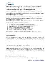 ERP implementation leasing issues
