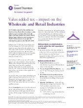 Puerto Rico: Value Added Tax - Impact on Wholesale and Retail Industries