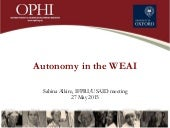Autonomy in the WEAI