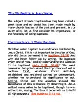 Why We Baptize In Jesus Name