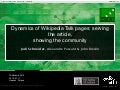 Dynamics of Talk pages: Serving the article, showing the community - Wikimania 2010