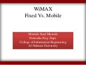 Wi max fixed vs. mobile