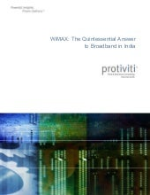 Wimax : The Quintessential Answer t...