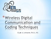 Wireless digital communication and coding techniques new
