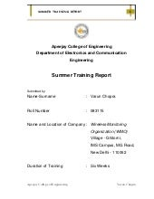 WMO Summer Training Report 2011
