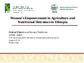 Women's Empowerment in Agriculture and Nutritional Outcomes in Ethiopia