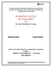 Working capital management on kotak...