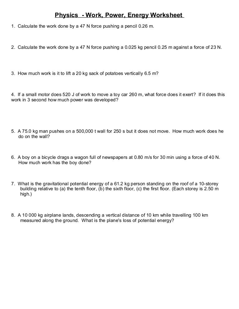 Worksheets Energy Work And Power Worksheet Answer Key worksheet more simple work and energy problems