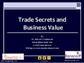 Trade secrets and Business Value - A Presentation by Dr. Kalyan C. Kankanala at the Woxsen School of Business.